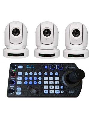 BirdDog Bundle: 3x P200 PTZ NDI Cameras (White) with Free PTZ Keyboard