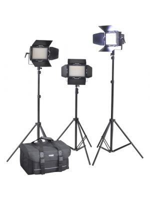 Cineroid LM400-3SETV Professional Bi-Color LED 3-Light Kit:  3 x (LM400-VCDE, Yokes, Diffusers, AC Adapters, Carry Bags, Barn Doors, V-Mount Plates)