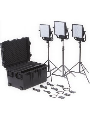 Litepanels Astra 3X Traveler Bi-Color Trio 3xLED Panel Kit with V-Mount Battery Brackets