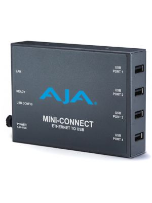 AJA Mini-Connect Ethernet (RJ-45) to 4 USB, enables Ethernet control/status of ROI Devices