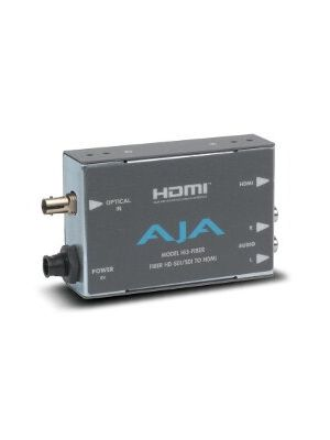 AJA Hi5-Fiber HD/SD-SDI Over Fiber to HDMI Video and Audio Converter with Power Supply