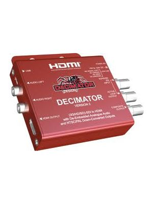 Decimator 2 Miniature (3G/HD/SD)-SDI to HDMI with De-Embedded Analogue Audio and NTSC/PAL Down-Converted Outputs.