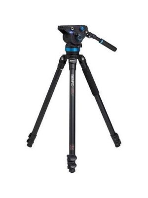 Benro A373F Series 3 AL Video Tripod & S8 Head - 75mm Half Ball Adapter, 3 Leg Sections, Flip Lock Leg Release