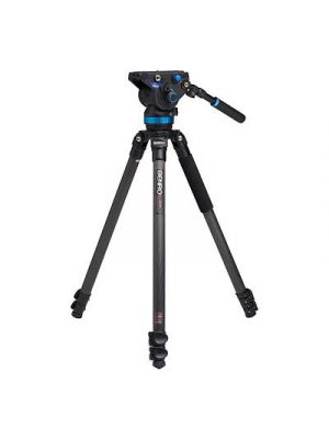 Benro C373F Series 3 CF Video Tripod & S8 Head - Leveling Column, 3 Leg Sections, Flip Lock Leg Release