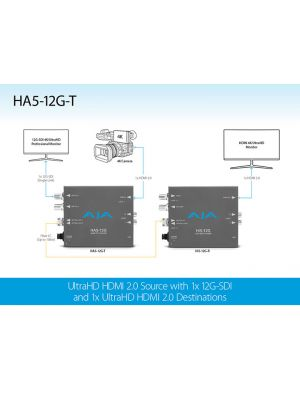 AJA HA5-12G-T HDMI 2.0 to 12G-SDI Mini-Converter with 1 x Fibre Tx