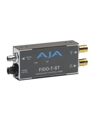 AJA FiDO-T-ST Single Channel SDI to ST Fiber Converter with Looping SDI Output and Power Supply