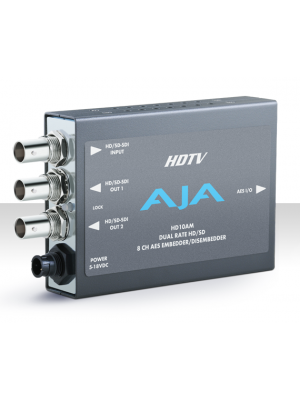 AJA HD10AM HD/SD-SDI 8-Channel AES Embedder/Disembedder (with Power Supply)