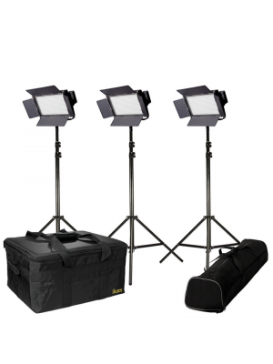 Ikan IFB576-KIT with 3 X IFB576 lights w/ AB and V-Mount Battery Plates