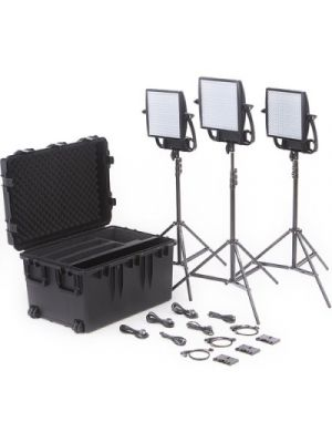 Litepanels Astra 3X Traveler Bi-Color Trio 3-LED Panel Kit with Gold Mount Battery Brackets