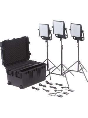 Litepanels Astra 6X Traveler Bi-Color Trio 3-LED Panel Kit with Gold Mount Battery Brackets