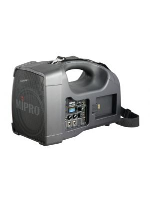 MIPRO MA202B-5 Portable PA, 56 Watts with a 5inch woofer and 1inch tweeter. Integrated Wireless Mic Receiver with Auto Scan and ACT Sync, USB and SD Music Player.