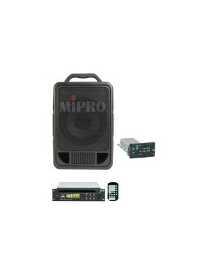 MIPRO MA705CDMB-5 Portable PA, 70 Watts with Wireless Mic Receiver and CDM2B CD/USB Player with Bluetooth. 8inch full range speaker. Integrated dual gel cell batteries.