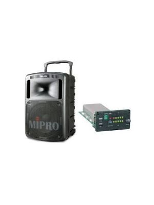 MIPRO MA808PAMB-5 Portable PA with Bluetooth and Wireless Mic Receiver, 265 Watts Biamped. 10inch woofer, 1inch compression driver. Integrated dual gel cell batteries.