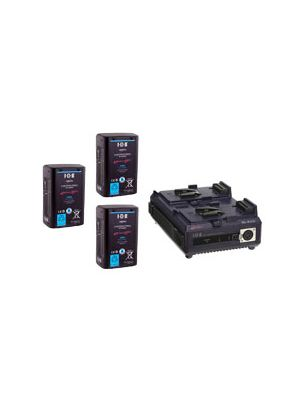IDX 3x E-HL10DS Batteries and 1x VL-2PLUS 2-Channel Sequential Quick Charger