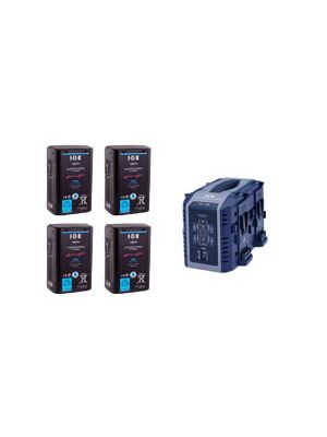 IDX 4x E-HL10DS Batteries and 1x VL-4S 4-Channel Simultaneous Quick Charger