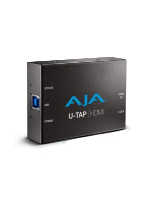 AJA U-TAP-HDMI HD/SD USB 3.0 capture device for Mac/Windows/Linux with HDMI input. Bus powered, no driver software necessary.