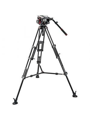 Manfrotto 509HD Video Head & 545B Aluminum Tripod Pro Middle-Twin Kit 100