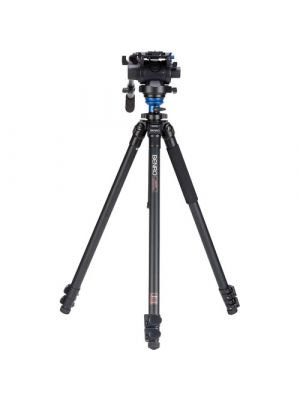 Benro A2573F Series 2 AL Video Tripod & S6 Head - Leveling Column, 3 Leg Sections, Flip Lock Leg Release