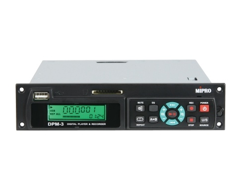 MIPRO DPM3 USB/SD Audio Player/Recorder Module for MA708PA and MA708PAMB-5. Front control panel can be detached and used as a wireless USB/SD remote.