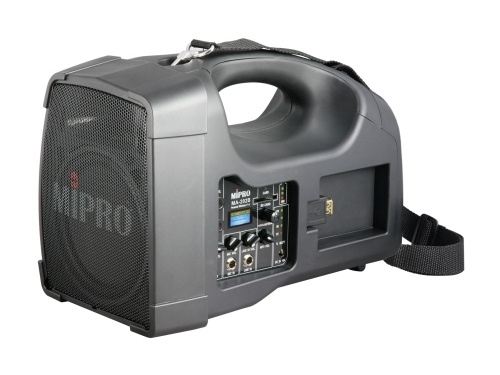 MIPRO MA202B-5 Portable PA, 56 Watts with a 5inch woofer and 1inch tweeter. Integrated Wireless Mic Receiver with Auto Scan and ACT Sync, USB and SD Music Player. In