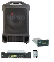 MIPRO MA707CDMB-5 Portable PA, 100 Watts with Wireless Mic Receiver and CDM2BP CD/USB Audio Player with Bluetooth. 8inch full range speaker. Integrated dual gel cell bateries.