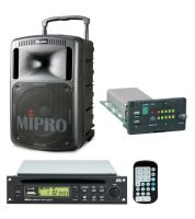 MIPRO MA808CDMB-5 Portable PA with Bluetooth, Wireless Mic Receiver and CD/USB Player, 265 Watts Biamped. 10inch woofer, 1inch compression driver. Integrated dual gel cell batteries.